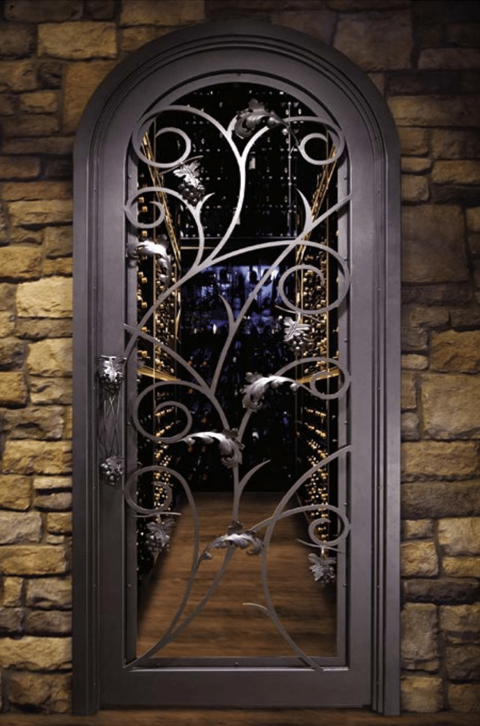 Wrought Iron Wine Cellar Door with Intricate Design