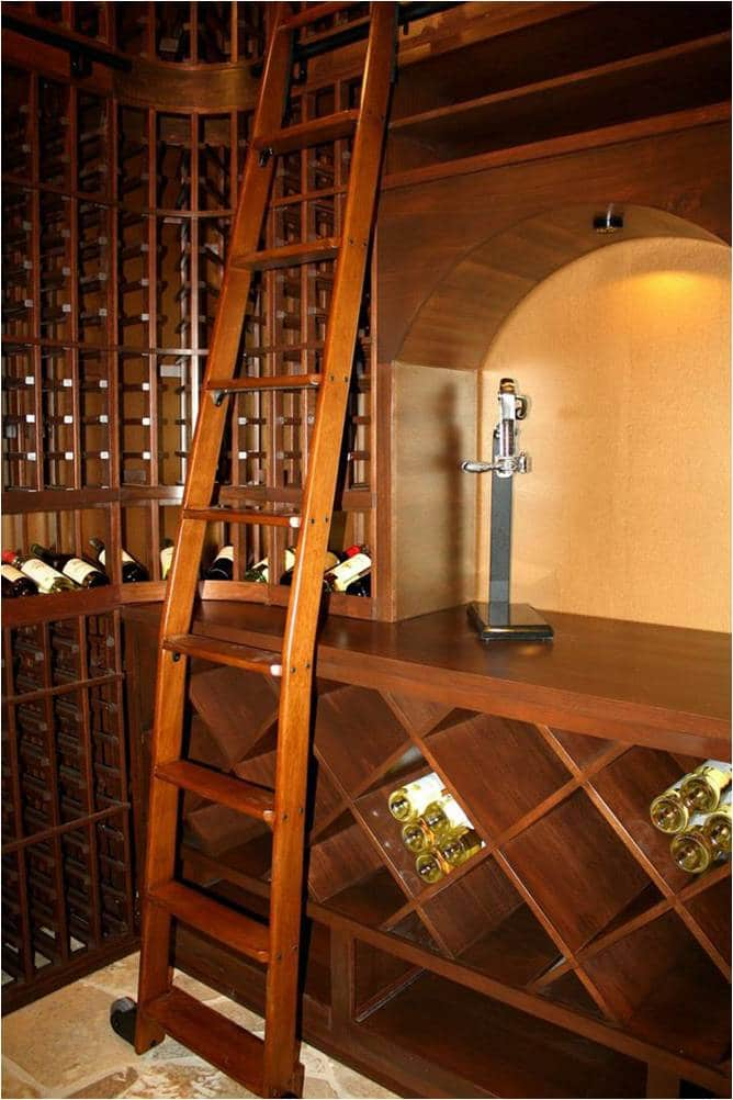 Bent Wine Cellar Ladder Allows Usage Over Double Deep Sections of the Racking