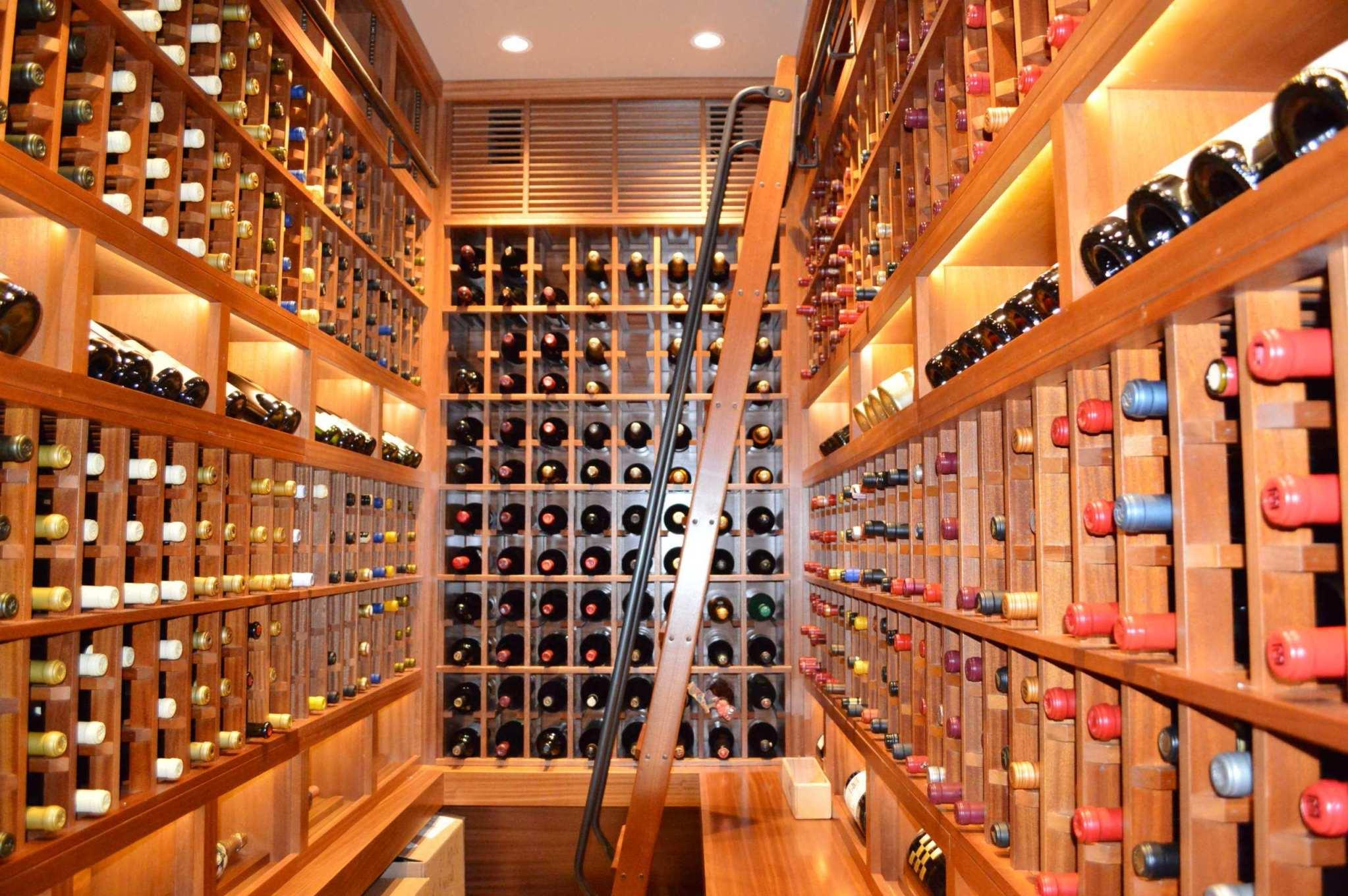 San Diego Custom Wine Cellar Design with a Rolling Ladder