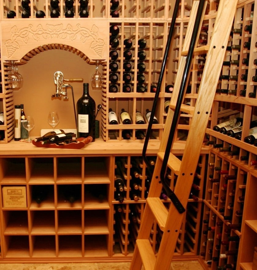 Straight Custom Wine Cellar Rolling Ladder in San Diego Lacquered and made from Redwood